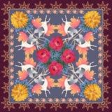 Vierkante sjaal in uitstekende stijl De leuke gevleugelde eenhoorns in de herfst bos Sierkader, het bloeien namen bloemen in vect royalty-vrije illustratie