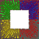 Vierkante spatie sguare met vier randkleur Stock Foto's