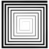 Vierkante spiraal, labyrint, vector optisch illusiondeptheffect, embleemmalplaatje, tatoegering royalty-vrije illustratie