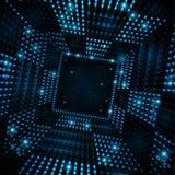Vierkante tunnel of ruimtehaven van blauwe vonken Royalty-vrije Stock Foto's