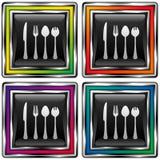 Vierkante vectorknoop met werktuigenpictogram Stock Fotografie