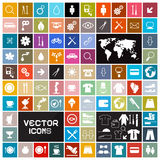 Vierkante Vlakke Geplaatste Pictogrammen Royalty-vrije Stock Afbeelding