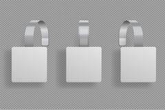 Vierkante wobbler 3D witte lege kromming van de wobblerssupermarkt De duidelijke vierkante vorm van de prijssticker Kortings plas royalty-vrije illustratie