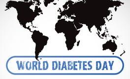 Vierkante zegel van de Grunge de uitstekende diabetes met wereldkaart Stock Foto