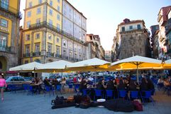 Vierkanten in de stad van Porto in Portugal Royalty-vrije Stock Foto's