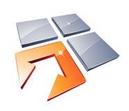 Vierkanten en pijlontwerp Stock Foto