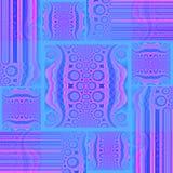 Vierkanten en rechthoekenpatroon met van cirkelelementen en strepen azuurblauw verplaatst blauw, viooltje, magenta en purple vector illustratie