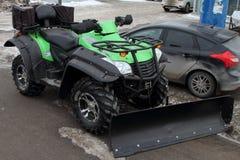 Vierlingfiets, geschikt voor sneeuwverwijdering stock afbeelding