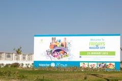 Viernes en el anuncio de la ciudad de Masdar en Abu Dhabi Foto de archivo