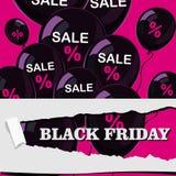 viernes negro, venta, cartel con los globos brillantes negros en fondo rosado en diseño plano Imagenes de archivo
