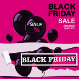 viernes negro, venta, cartel con los globos brillantes negros en fondo rosado en diseño plano Imágenes de archivo libres de regalías