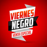 Viernes Negro venta especial - Spanish translation: Black Friday special sale Stock Photography