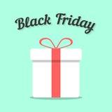 Viernes negro y caja de regalo blanca Imagen de archivo