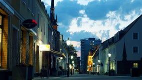 Vierradener street Schwedt. Blue our in the promenade of Schwedt city Royalty Free Stock Photo