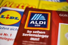 Makro closeup of weekly printed advertising inserts from german discounter companies