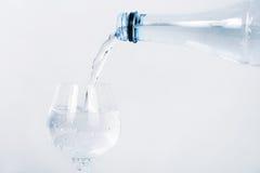 Vierta el agua mineral en la botella en hierba limpia Fotografía de archivo libre de regalías