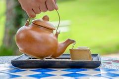 Vierta el té foto de archivo libre de regalías