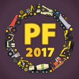 Vierta la dicha 2017 El sistema de tierra trabaja los vehículos de las máquinas Feliz Año Nuevo, equipo del edificio de la constr Imagenes de archivo