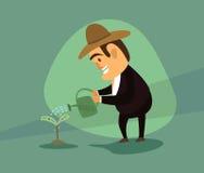 Vierte de un árbol de riego del dinero Imágenes de archivo libres de regalías