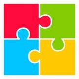 Vierteiliges Puzzlespieldiagramm Stockbilder