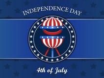 Viertel des Juli-Unabhängigkeitstagkonzeptes, mit Grill, bbq vector Illustration, den Ausweis, lokalisiert auf Blau Stockbilder