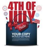 Viertel des Vektors des Juli-Verkaufseinkaufstasche-Hintergrundes ENV 10 Stockfotografie