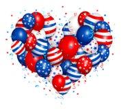 Viertel von Juli-Herzballonen Lizenzfreies Stockbild