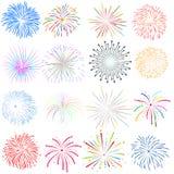 Viertel von Juli mit Feuerwerk Hintergrund Lizenzfreies Stockfoto