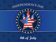 Viertel von Juli, Unabhängigkeitstag, Stern, Feuerwerke, Vektorillustration, lokalisiert auf Blau Lizenzfreie Stockfotografie