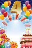 Vierter Geburtstag lizenzfreie abbildung
