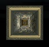 Viervlakkige vierkante decoratieve rozet van houten ontwerpende stroken Stock Fotografie