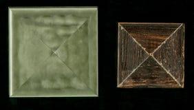 Viervlakkige vierkante decoratieve rozet van houten ontwerpende stroken Royalty-vrije Stock Fotografie