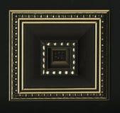 Viervlakkige vierkante decoratieve rozet van houten ontwerpende stroken Stock Foto