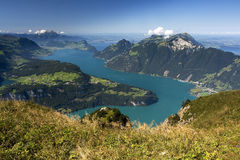Vierwaldstättersee - Beautiful lake in Swiis Alps. Vierwaldstättersee - Beautiful Lake in Switzerland Panoramic view from Fronalpstock in Swiss Canton royalty free stock photography