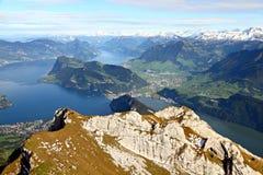 Vierwaldstaetter Lake, Switzerland. Lake Lucerne framed by high alpine mountains on a summer day, Switzerland Royalty Free Stock Photos