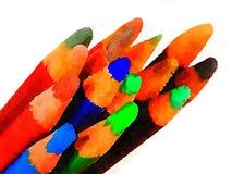 Vierzehn farbige Bleistifte stock abbildung