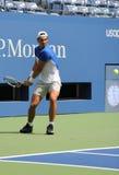 Vierzehn Zeiten Grand Slam-Meister Rafael Nadal Spanien übt für US Open 2015 lizenzfreie stockfotos