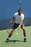 Vierzehn Zeiten Grand Slam-Meister Rafael Nadal Spanien übt für US Open 2015 lizenzfreies stockfoto