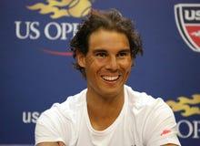 Vierzehn Zeiten Grand Slam-Meister Rafael Nadal Spanien während der Pressekonferenz vor US Open 2015 lizenzfreies stockbild