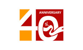 Vierzig Jahre Geschenkbox-Band-Jahrestags- Stockfotos