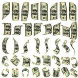 Vierzig Vorbereitungen für fallende Dollar Stockbild