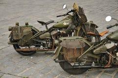 vierziger Jahre WLA Militär-Motorräder stockfotos
