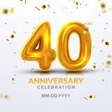 Vierzigster Jahrestags-Feier-Zahl-Vektor stock abbildung