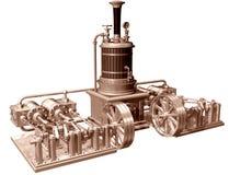 Vierzylinderdampfmotor und -dampfkessel Stockbilder