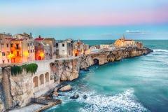 Vieste - beautiful coastal town on the rocks in Puglia. The church of San Francesco di Vieste. Gargano peninsula, Apulia, southern Italy, Europe stock photo