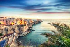 Vieste - beautiful coastal town on the rocks in Puglia. The church of San Francesco di Vieste. Gargano peninsula, Apulia, southern Italy, Europe stock photos