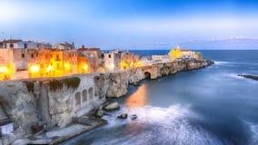 Vieste - beautiful coastal town on the rocks in Puglia. The church of San Francesco di Vieste. Gargano peninsula, Apulia, southern Italy, Europe stock images