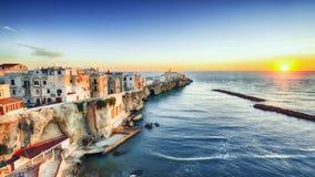 Vieste - beautiful coastal town on the rocks in Puglia. The church of San Francesco di Vieste. Gargano peninsula, Apulia, southern Italy, Europe royalty free stock photo