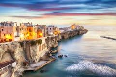 Vieste - beautiful coastal town on the rocks in Puglia. The church of San Francesco di Vieste. Gargano peninsula, Apulia, southern Italy, Europe royalty free stock photography