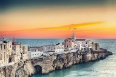 Vieste - beautiful coastal town on the rocks in Puglia. The church of San Francesco di Vieste. Gargano peninsula, Apulia, southern Italy, Europe royalty free stock photos